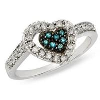 Wholesale Blue topaz and White Diamond 14K White Gold Heart Ring from china suppliers