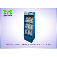 Quality UV coating blue color custom cardboard displays rack with plastic hooks for Mani Pedi for sale