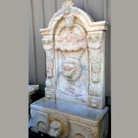 Wholesale Outdoor Water Feature Large Marble Stone Carved Wall Garden Fountain With Lion Head Decoration from china suppliers