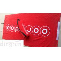 Wholesale Red Luxurious Velour Custom Printed Beach Towels Attached Foam Pillow / Carry Strap from china suppliers