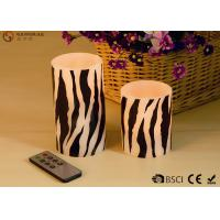 Wholesale Sets of  Two Flameless LED Zebra Striped Wax Candles With Remote Control from china suppliers