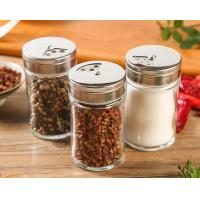 China Lead Free Pepper Glass Spice Jar Kitchen Custom Logo With Stainless Steel Lid on sale