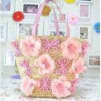 Wholesale Pink flowers straw beach tote bag ladies favor from china suppliers