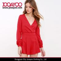 Wholesale Jumpsuit for Women 2016 V-neck Red Long Sleeve Romper with Pleat Details from china suppliers
