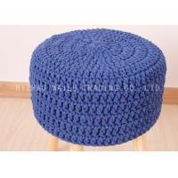 Wholesale Blue Cable Strip Crochet Stool Cover , Cotton Round Crochet Ottoman Cover from china suppliers