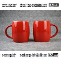 Wholesale Beer barrel red black ceramic beer mug custom advertising LOGO for your design from china suppliers