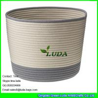 Wholesale LUDA large laundry basket striped home cotton cord basket from china suppliers
