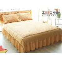 Wholesale White King Size Bed Skirts 18 Inch Drop Polyester Material BS-006 from china suppliers