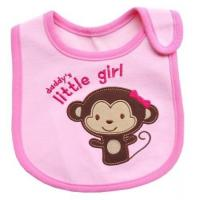Wholesale Pink Monkey Feeding Bibs For Babies / Personalized Baby Bibs for Baby Girl from china suppliers