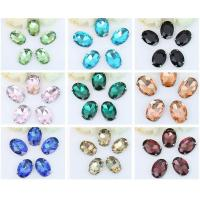 Wholesale Oval/navette sew on crystal glass stone with metal base claw from china suppliers