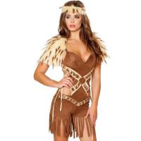 Wholesale Halloween Outfits Native Warrior Costume With Romper , Head Band , Fur Shoulders from china suppliers