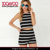 Wholesale Ladies Ivory and Black Striped Crop Top and Short Two-Piece Sweat Suits from china suppliers
