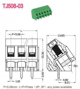 Quality Nickel plated Green Screw Terminal Blocks Brass UL94 V - 0 10A 300V for sale