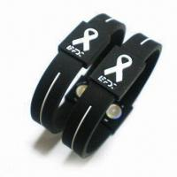 China Silicone Power Balance Bracelets, Customized Designs Available on sale