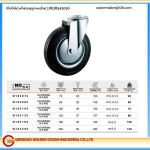 N183 75 mm to 200mm Roller bearing Iron Core Rubber Caster Wheel Castors 50-120kg