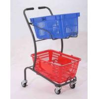 Wholesale 50KGS Shopping Basket Trolley Japanese Style Zinc Plating Metal Double Basket  Hand Push from china suppliers