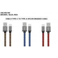 Quality Nylon Braided 3M / 10ft USB2.0 USB Type-C Cable Transmit Speed 480M / 3A for sale