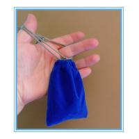 Quality Sewing By Hand Royal Blue Mini Velvet Drawstring Bag , Velour Bag For Gift for sale