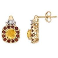 Wholesale 14K Yellow Gold Earrings Citrine, Garnet and Diamond earring from china suppliers