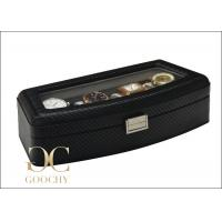Wholesale Black Carbon Fiber Leather watch winder case box For 4 Large Watches from china suppliers