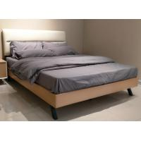 Comfortable wood bed with double size and metal supporting legs