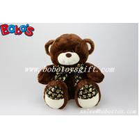 Wholesale Dark Brown cute plush bear with heart printting ribbon and feet  in 3 sizes from china suppliers