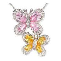 Wholesale Carat Pink & Yellow & White CZ Butterfly Pendant from china suppliers