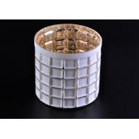 Wholesale Mercury Electroplated White Sprayed Glass Candle Jars , Square Pattern from china suppliers