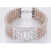 Wholesale Pink Color Engraved Costume Pearl Bangle Bracelets With Diamonds Four Strand from china suppliers
