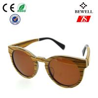 Wholesale Bewell Round Wooden Sunglasses , 100% Sustainable Frame Wood Zebra Eyewear from china suppliers