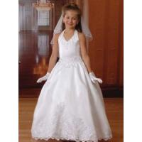 Wholesale China Flower Girl Dress/ White Bubble Skirt Satin Halter Flower Girl Dresses from china suppliers