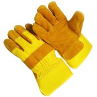 Wholesale 18oz Yellow half lining gunn pattern rubberized cuff  Leather Work Glove 603CBYFR-Y from china suppliers