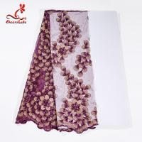 130CM Polyester Guipure Lace Fabric / African Beaded Flower Lace Embroidery Fabric For Clothing