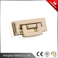Quality 48*18.8mm Rectangle metal bag lock,zinc alloy light gold fashion purse lock for sale