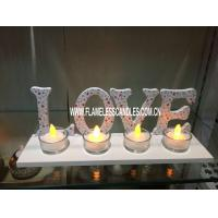 "Wholesale Electronic LED Glass Votive Candles With "" LOVE ""  Tray For Hotel or Home Decoration from china suppliers"