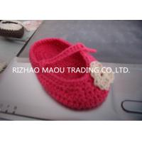 Wholesale 6cm Red Crochet Baby Shoes Flower Decoration Handmade Knitted Baby Slippers from china suppliers