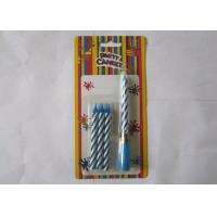 China Blue Striped Birthday Musical Candle Singing Song For Christmas Party Decorations on sale