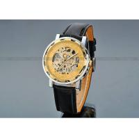 Wholesale Leather Gold Dial Mens Automatic Watch 43mm Case , Sport Wrist Watch from china suppliers