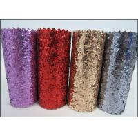 Wholesale Sparkle Mixed Glitter Fabric Sheets , Pu Leather Multi Color Glitter Fabric from china suppliers