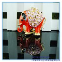 Wholesale Rhinestone red elephant shape metal keychain from china suppliers