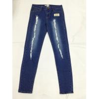 Wholesale Knee Patch Colored Womens Slim Straight Leg Jeans Dark Wash Low Waist from china suppliers