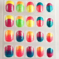 Wholesale French Style Neon Fake Nails Gradient Full Cover Artificial Nail For Kids from china suppliers
