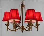 Wholesale Red Fabric Shade 6 Lights Wrought Iron Chandelier for Dining Room from china suppliers
