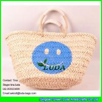 Wholesale LUDA high quality lady shoper bag handmade smile face cornhusk straw shopping bag from china suppliers