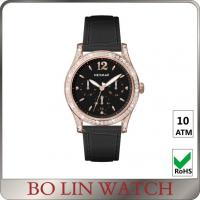Wholesale Stylish IPRG Case Ladies Stainless Steel Watch With Black Leather Strap from china suppliers