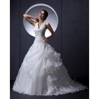 Wholesale Strap Beaded Gauze Deep V Neck Wedding Dresses / Thick Winter chapel train Wedding Gowns from china suppliers