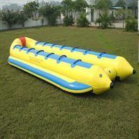 Quality 0.9 mm PVC tarpaulin single line and double lines banana shape boat for sale