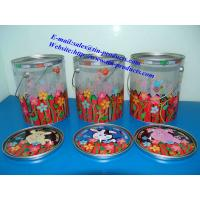 Quality Different Printed PET Tin Pail with metal Printed  lid and handle from Goldentinbox.com for sale