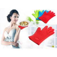 Wholesale Waterproof Heat Resistant Household Mitt Red Silicone Oven Gloves With 5 Fingers from china suppliers