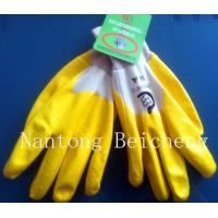 Wholesale Yellow Nitrile Work Gloves Open Back With Cotton Interlock Lined Knit-wrist Dip from china suppliers